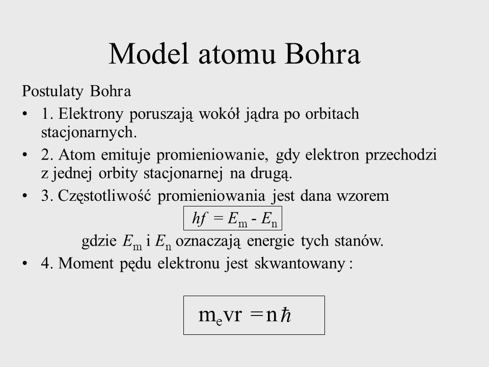 ModelatomuBohra PostulatyBohra 1.Elektrony poruszają wokół jądra po orbitach stacjonarnych. 2.Atom emituje promieniowanie, gdy elektron przechodzi z j