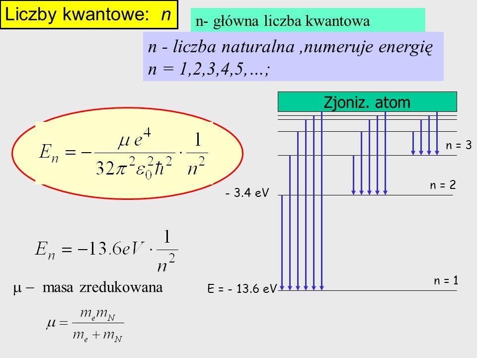 Liczby kwantowe: n n - liczba naturalna,numeruje energię n = 1,2,3,4,5,…; E = - 13.6 eV - 3.4 eV Zjoniz. atom n = 1 n = 2 n = 3 n- główna liczba kwant