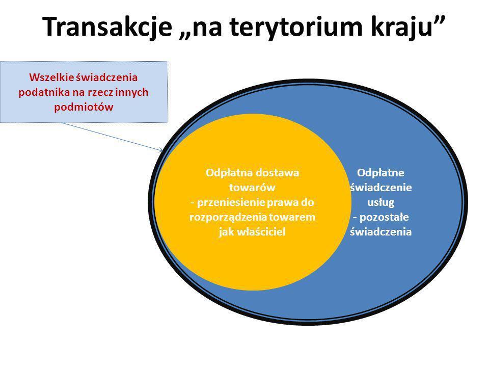 Transakcje na terytorium kraju Odpłatne świadczenie usług - pozostałe świadczenia Odpłatna dostawa towarów - przeniesienie prawa do rozporządzenia tow