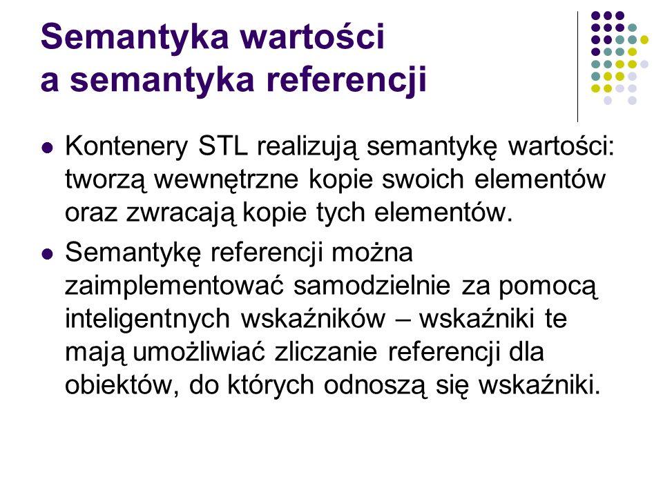 Semantyka wartości a semantyka referencji Kontenery STL realizują semantykę wartości: tworzą wewnętrzne kopie swoich elementów oraz zwracają kopie tyc