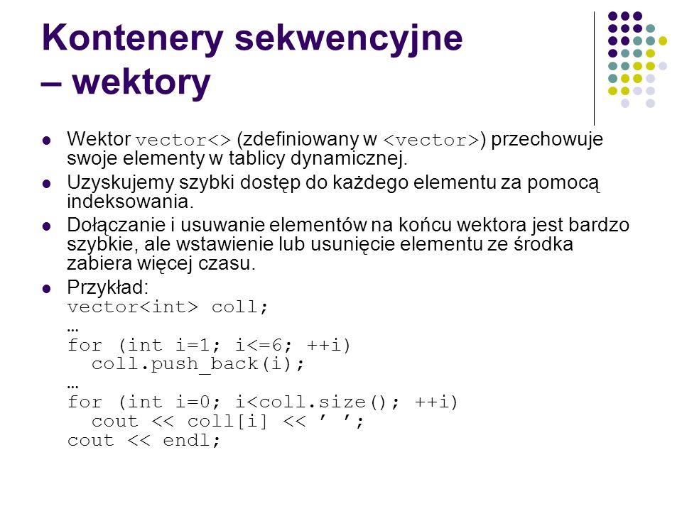 Kontenery sekwencyjne – wektory Wektor vector<> (zdefiniowany w ) przechowuje swoje elementy w tablicy dynamicznej. Uzyskujemy szybki dostęp do każdeg