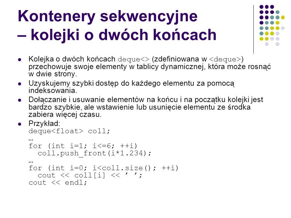 Kontenery sekwencyjne – kolejki o dwóch końcach Kolejka o dwóch końcach deque<> (zdefiniowana w ) przechowuje swoje elementy w tablicy dynamicznej, kt