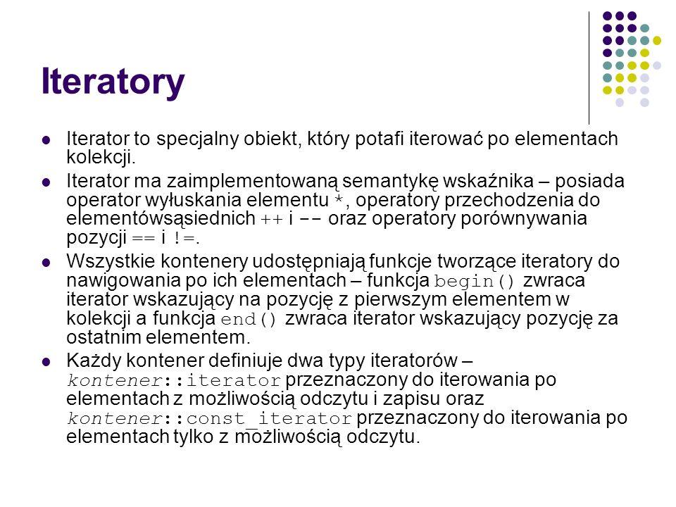 Iteratory Iterator to specjalny obiekt, który potafi iterować po elementach kolekcji. Iterator ma zaimplementowaną semantykę wskaźnika – posiada opera