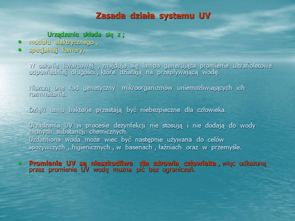 Zasada działa systemu UV Urządzenie składa się z ; modułu elektrycznego, modułu elektrycznego, specjalnej komory, specjalnej komory, W osłonie kwarcow