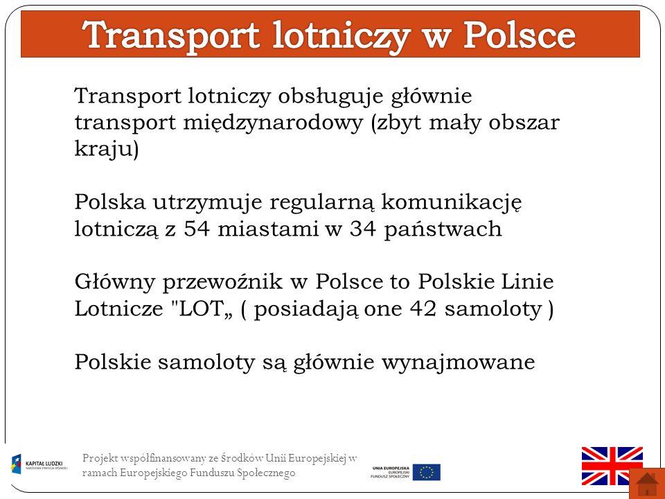 Projekt współfinansowany ze ś rodków Unii Europejskiej w ramach Europejskiego Funduszu Społecznego Infrastruktura transportu Lotniczego Drogi lotnicze Lądowiska Lotniska Porty lotnicze