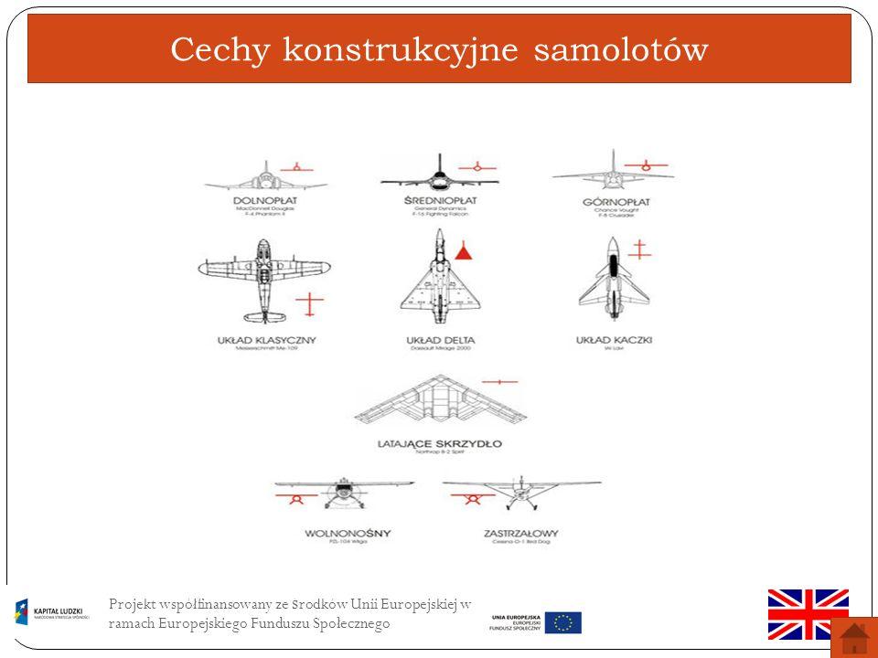 Projekt współfinansowany ze ś rodków Unii Europejskiej w ramach Europejskiego Funduszu Społecznego Ogólne określenie charakterystycznych rozwiązań zastosowanych przy budowie określonego samolotu.