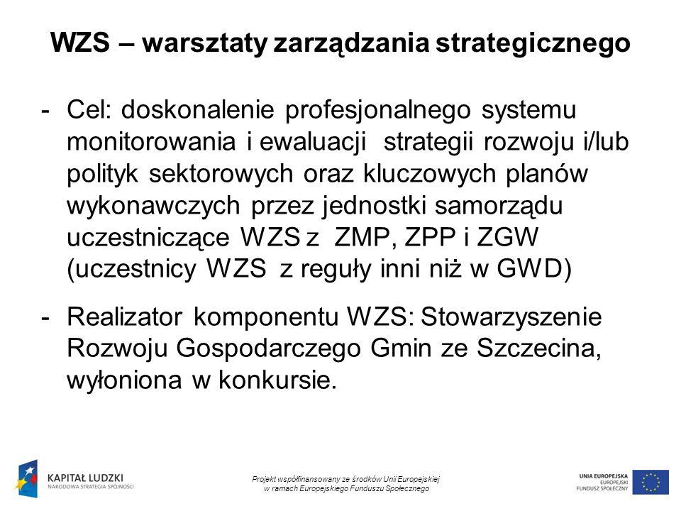 6 WZS – warsztaty zarządzania strategicznego -Cel: doskonalenie profesjonalnego systemu monitorowania i ewaluacji strategii rozwoju i/lub polityk sekt