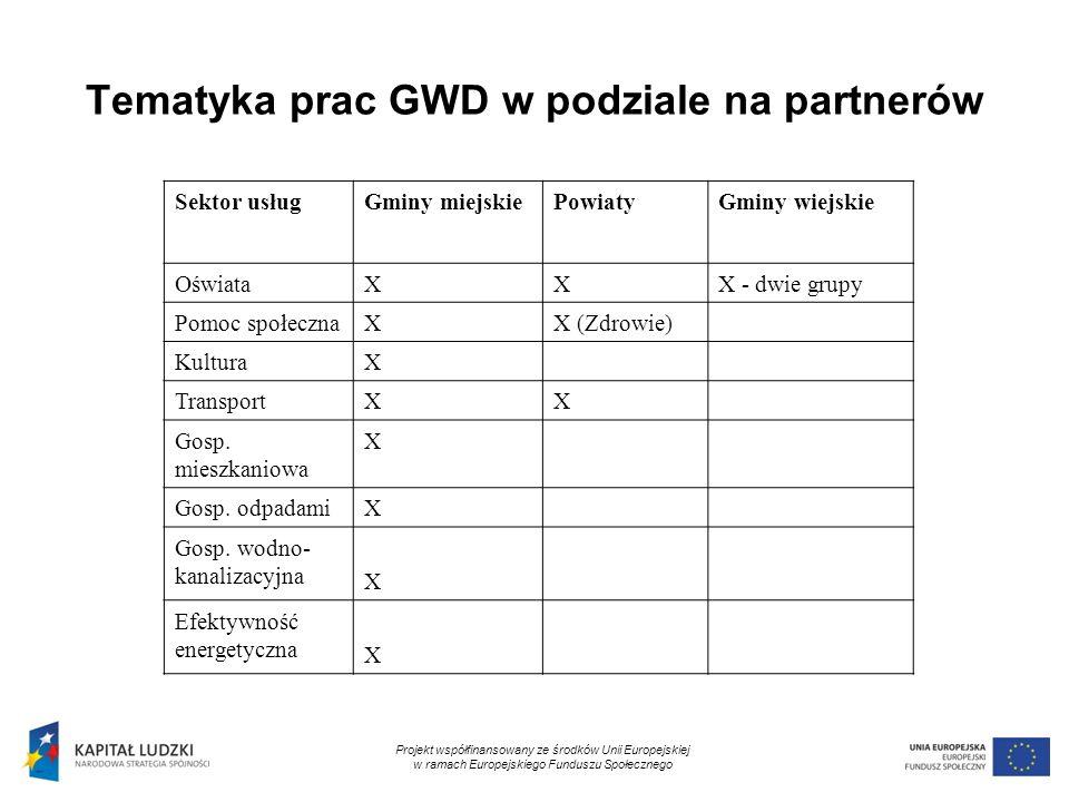 7 Tematyka prac GWD w podziale na partnerów Sektor usługGminy miejskiePowiatyGminy wiejskie OświataXXX - dwie grupy Pomoc społecznaXX (Zdrowie) Kultur