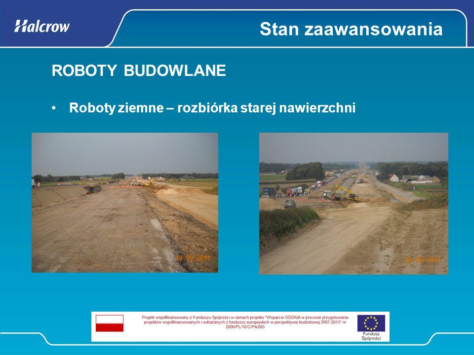 Stan zaawansowania ROBOTY BUDOWLANE Budowa dróg 34% Podbudowa bitumiczna na prawej jezdni S8 Podbudowa z kruszywa łamanego