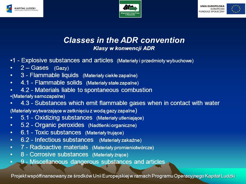 Projekt współfinansowany ze środków Unii Europejskiej w ramach Programu Operacyjnego Kapitał Ludzki Classes in the ADR convention Klasy w konwencji AD