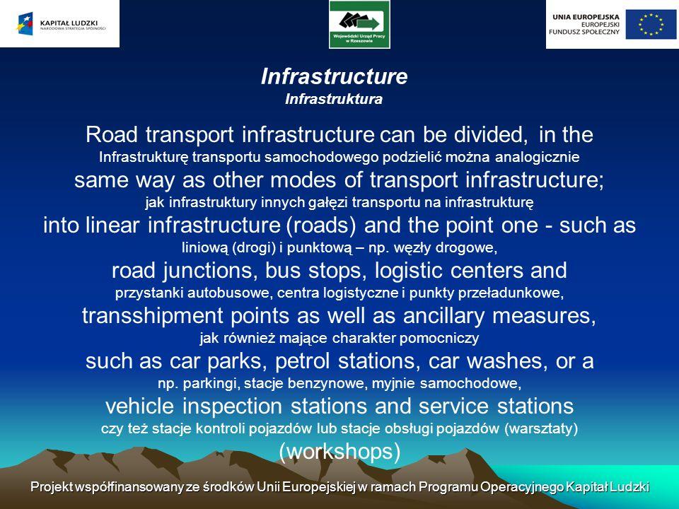 Projekt współfinansowany ze środków Unii Europejskiej w ramach Programu Operacyjnego Kapitał Ludzki Infrastructure Infrastruktura Road transport infra