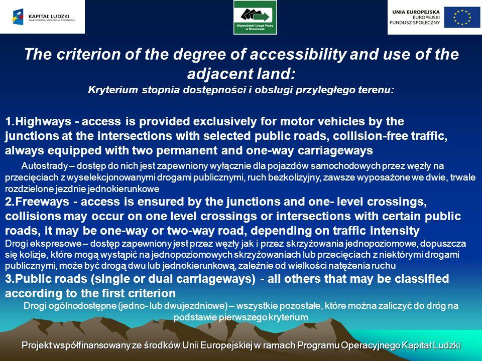 Projekt współfinansowany ze środków Unii Europejskiej w ramach Programu Operacyjnego Kapitał Ludzki The criterion of the degree of accessibility and u