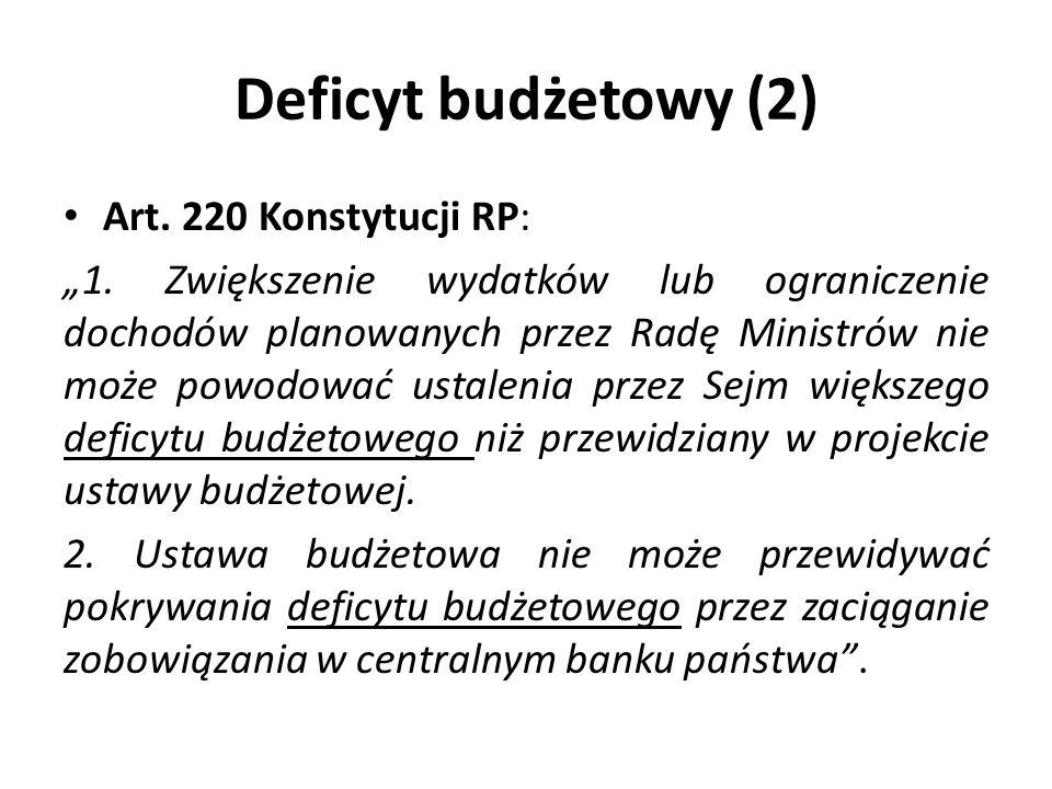 Deficyt budżetowy (2) Art. 220 Konstytucji RP: 1. Zwiększenie wydatków lub ograniczenie dochodów planowanych przez Radę Ministrów nie może powodować u