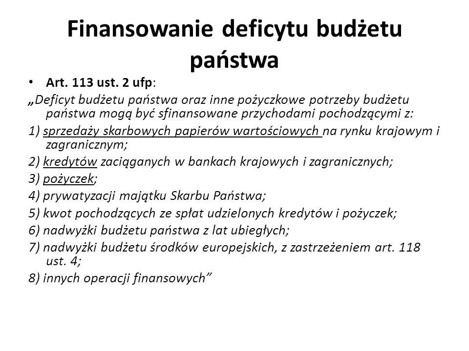 Finansowanie deficytu budżetu państwa Art. 113 ust. 2 ufp: Deficyt budżetu państwa oraz inne pożyczkowe potrzeby budżetu państwa mogą być sfinansowane