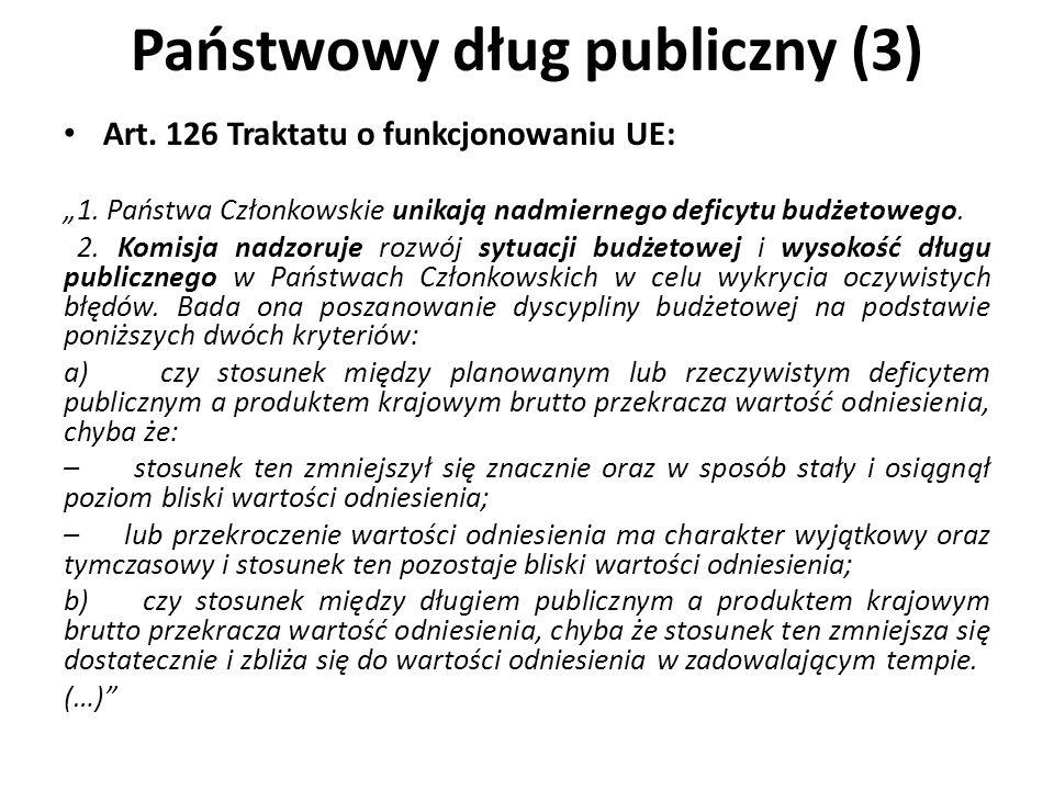 Państwowy dług publiczny (3) Art. 126 Traktatu o funkcjonowaniu UE: 1. Państwa Członkowskie unikają nadmiernego deficytu budżetowego. 2. Komisja nadzo