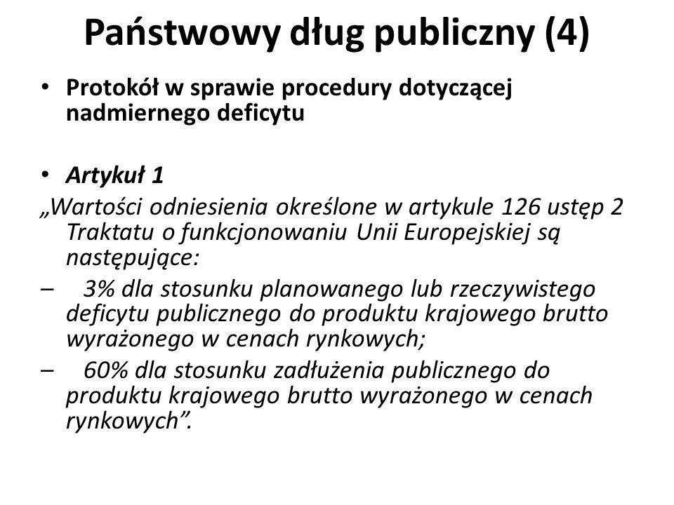 Państwowy dług publiczny (4) Protokół w sprawie procedury dotyczącej nadmiernego deficytu Artykuł 1 Wartości odniesienia określone w artykule 126 ustę