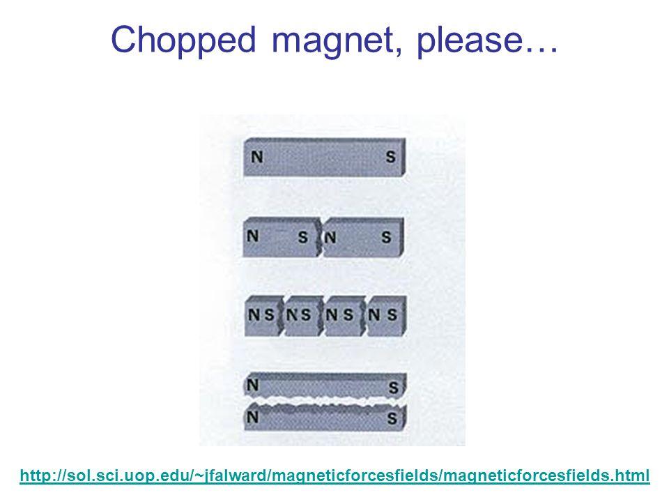 Chopped magnet, please… http://sol.sci.uop.edu/~jfalward/magneticforcesfields/magneticforcesfields.html