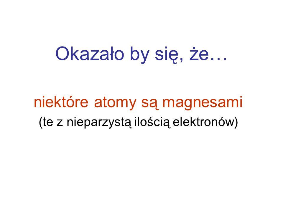 Okazało by się, że… niektóre atomy są magnesami (te z nieparzystą ilością elektronów)