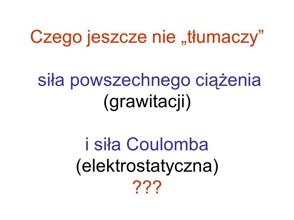 Czego jeszcze nie tłumaczy siła powszechnego ciążenia (grawitacji) i siła Coulomba (elektrostatyczna) ???