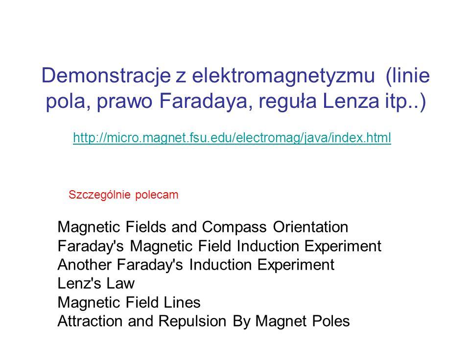 Demonstracje z elektromagnetyzmu (linie pola, prawo Faradaya, reguła Lenza itp..) http://micro.magnet.fsu.edu/electromag/java/index.html Magnetic Fiel
