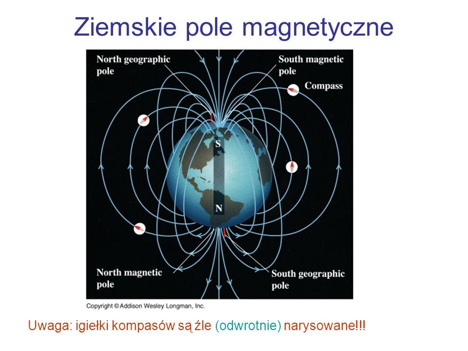 Ziemskie pole magnetyczne Uwaga: igiełki kompasów są źle (odwrotnie) narysowane!!!