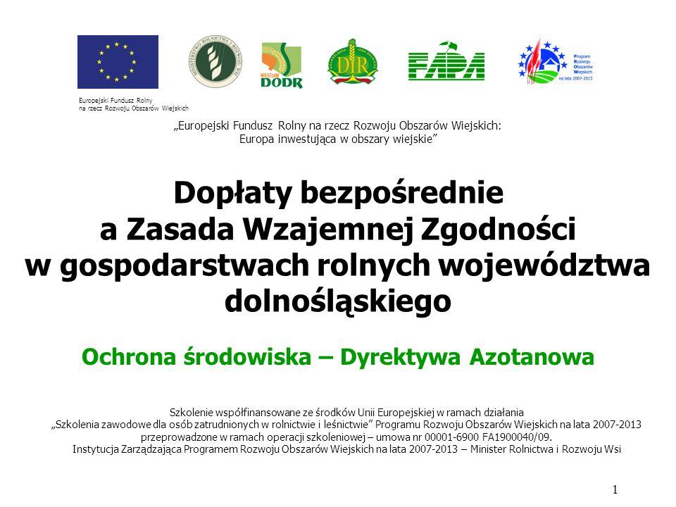 OCHRONA WÓD PRZED AZOTANAMI Zakazuje się stosowania nawozów: na glebach zalanych wodą, przykrytych śniegiem lub zamarzniętych (zakaz nie dotyczy stosowania nawozów w stawach wykorzystywanych do chowu lub hodowli ryb); 22