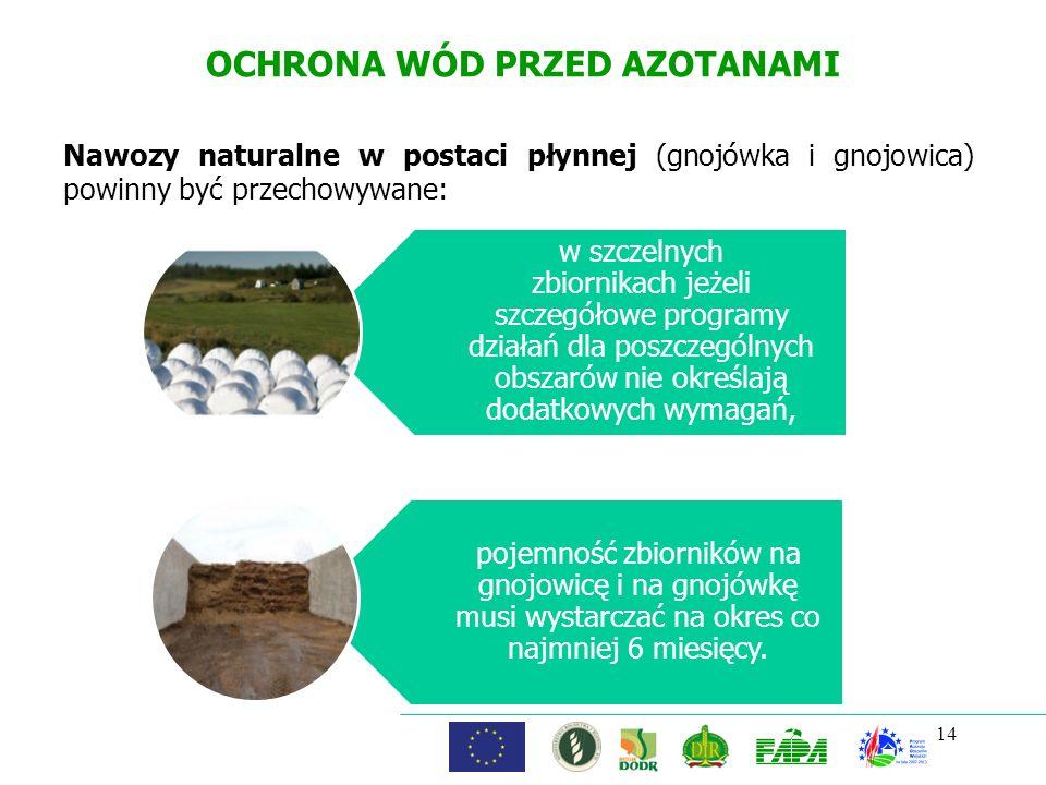 OCHRONA WÓD PRZED AZOTANAMI Nawozy naturalne w postaci płynnej (gnojówka i gnojowica) powinny być przechowywane: 14 w szczelnych zbiornikach jeżeli sz