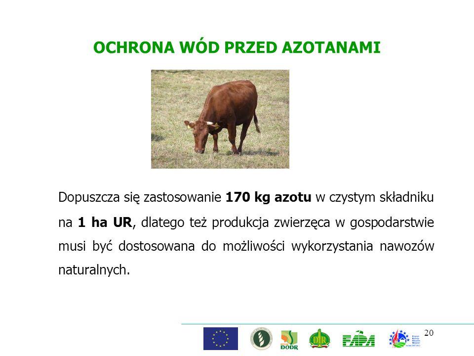 OCHRONA WÓD PRZED AZOTANAMI Dopuszcza się zastosowanie 170 kg azotu w czystym składniku na 1 ha UR, dlatego też produkcja zwierzęca w gospodarstwie mu