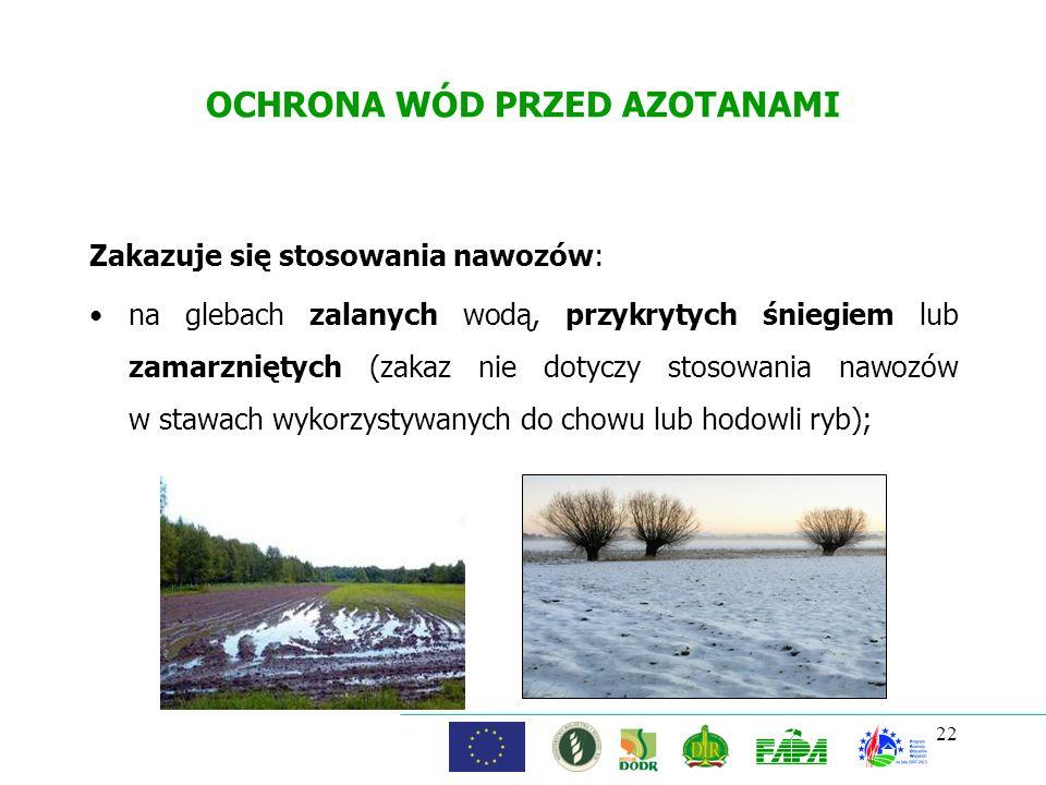 OCHRONA WÓD PRZED AZOTANAMI Zakazuje się stosowania nawozów: na glebach zalanych wodą, przykrytych śniegiem lub zamarzniętych (zakaz nie dotyczy stoso