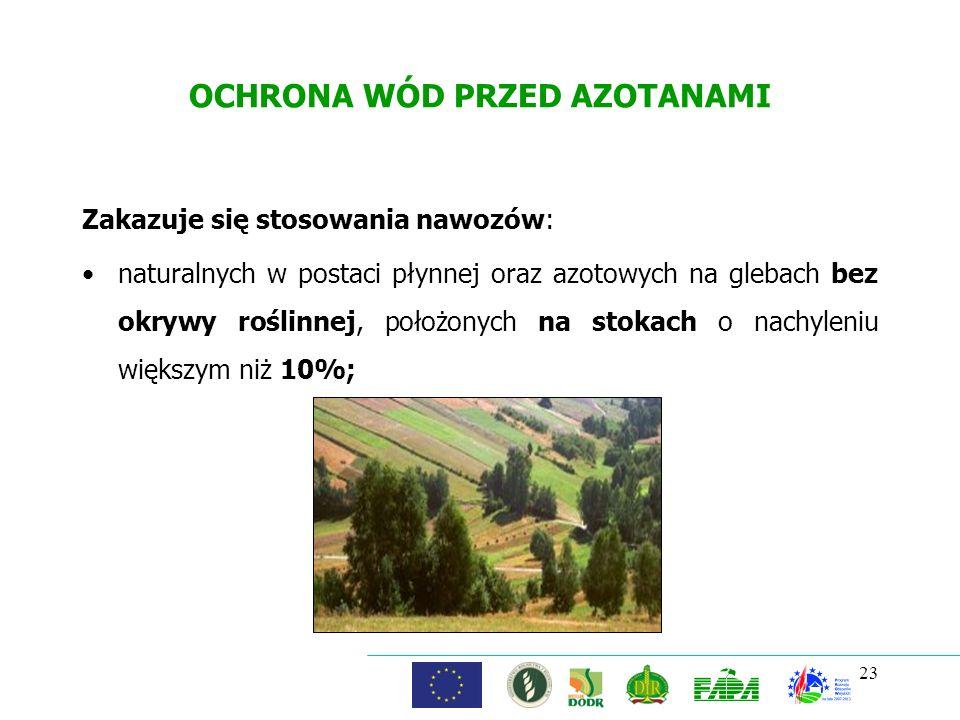OCHRONA WÓD PRZED AZOTANAMI Zakazuje się stosowania nawozów: naturalnych w postaci płynnej oraz azotowych na glebach bez okrywy roślinnej, położonych