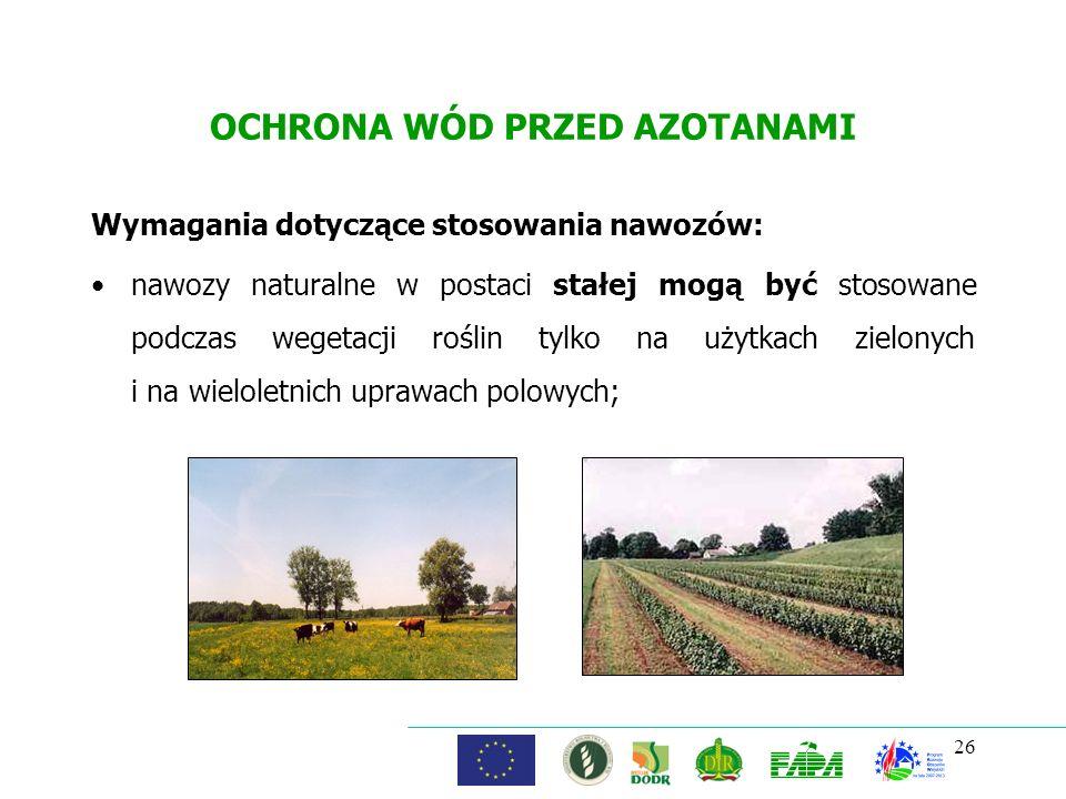 OCHRONA WÓD PRZED AZOTANAMI Wymagania dotyczące stosowania nawozów: nawozy naturalne w postaci stałej mogą być stosowane podczas wegetacji roślin tylk