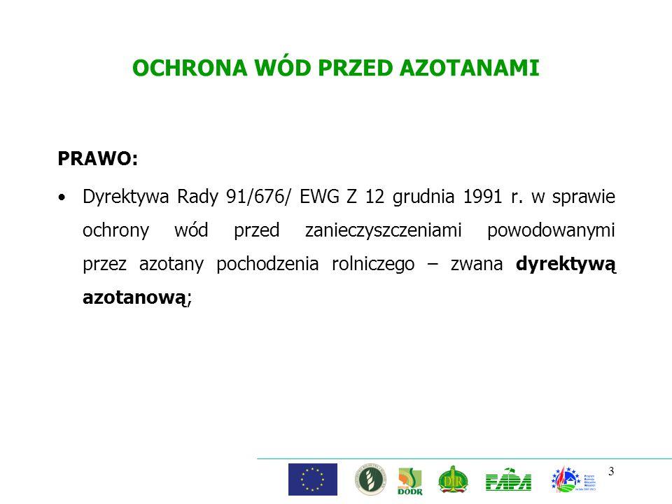 4 OCHRONA WÓD PRZED AZOTANAMI Dyrektywa azotanowa za cel stawia ochronę wód i zmniejszenie w nich zanieczyszczeń azotanami pochodzącymi ze źródeł rolniczych.