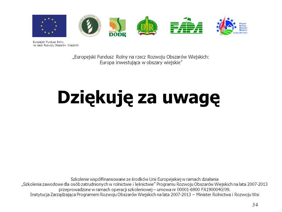 Dziękuję za uwagę 34 Szkolenie współfinansowane ze środków Unii Europejskiej w ramach działania Szkolenia zawodowe dla osób zatrudnionych w rolnictwie