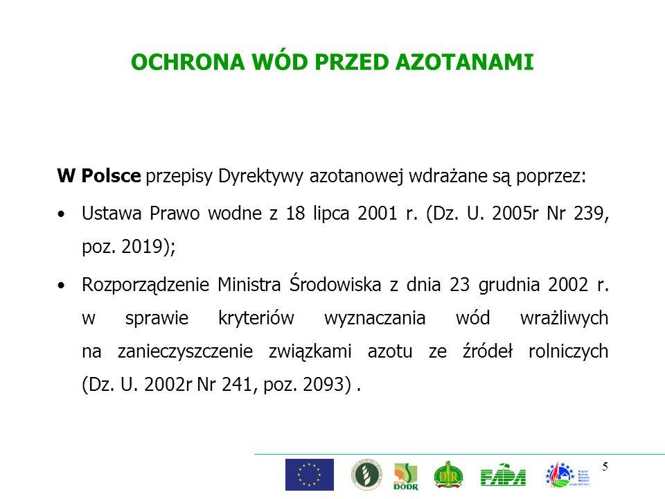 5 OCHRONA WÓD PRZED AZOTANAMI W Polsce przepisy Dyrektywy azotanowej wdrażane są poprzez: Ustawa Prawo wodne z 18 lipca 2001 r. (Dz. U. 2005r Nr 239,