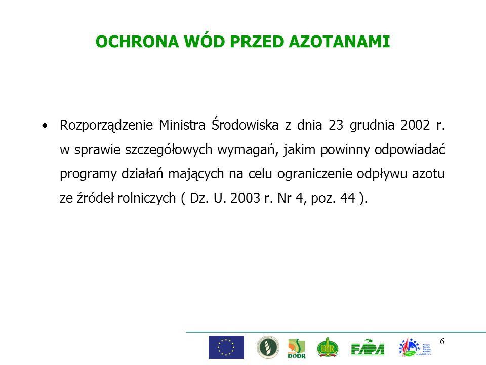 6 OCHRONA WÓD PRZED AZOTANAMI Rozporządzenie Ministra Środowiska z dnia 23 grudnia 2002 r. w sprawie szczegółowych wymagań, jakim powinny odpowiadać p