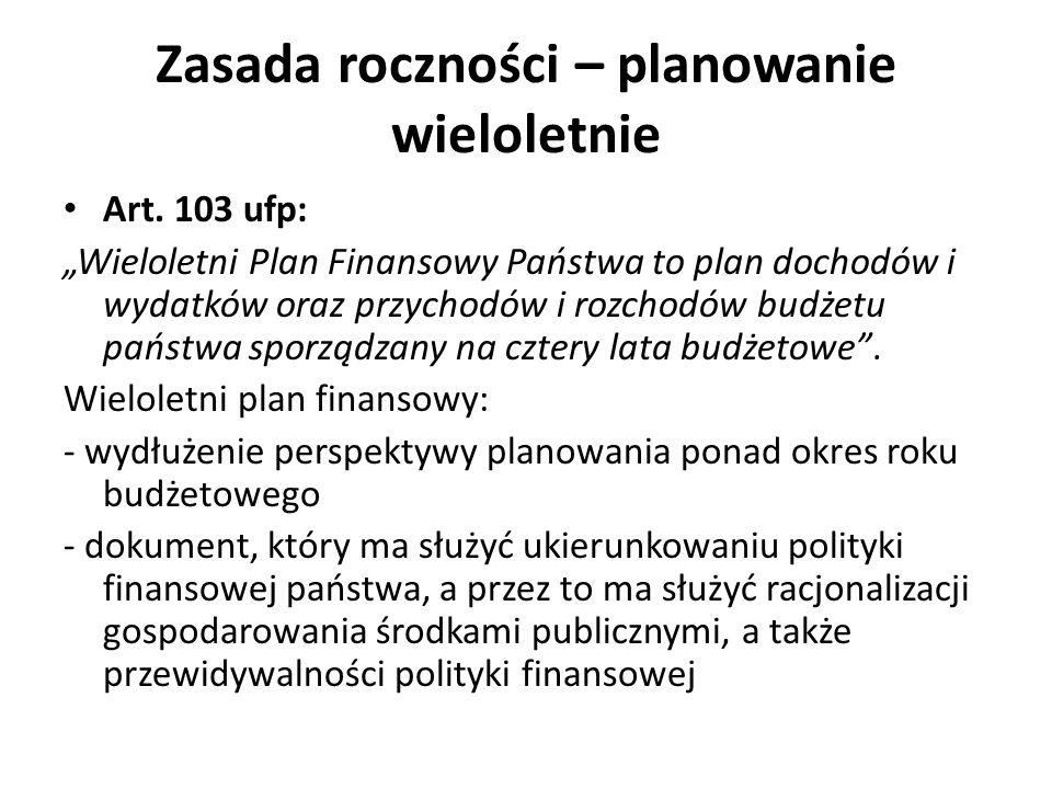 Zasada roczności – planowanie wieloletnie Art. 103 ufp: Wieloletni Plan Finansowy Państwa to plan dochodów i wydatków oraz przychodów i rozchodów budż
