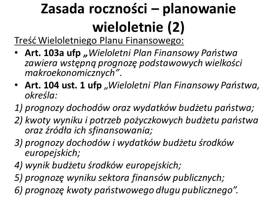 Zasada roczności – planowanie wieloletnie (2) Treść Wieloletniego Planu Finansowego: Art. 103a ufp Wieloletni Plan Finansowy Państwa zawiera wstępną p