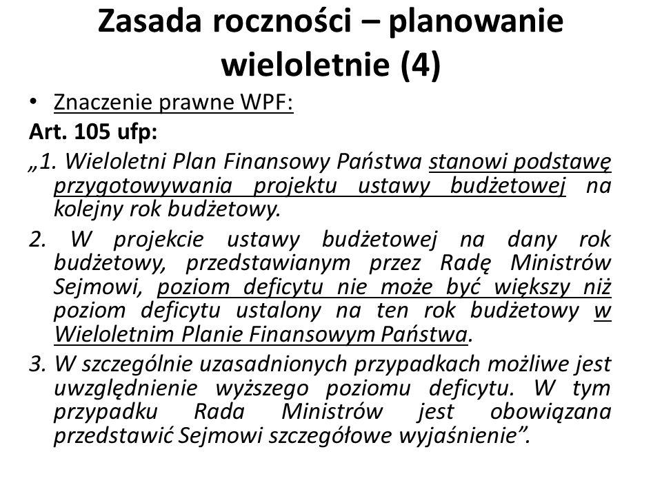 Zasada roczności – planowanie wieloletnie (4) Znaczenie prawne WPF: Art. 105 ufp: 1. Wieloletni Plan Finansowy Państwa stanowi podstawę przygotowywani