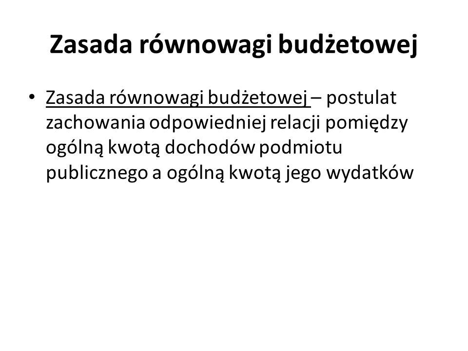 Zasada równowagi budżetowej Zasada równowagi budżetowej – postulat zachowania odpowiedniej relacji pomiędzy ogólną kwotą dochodów podmiotu publicznego