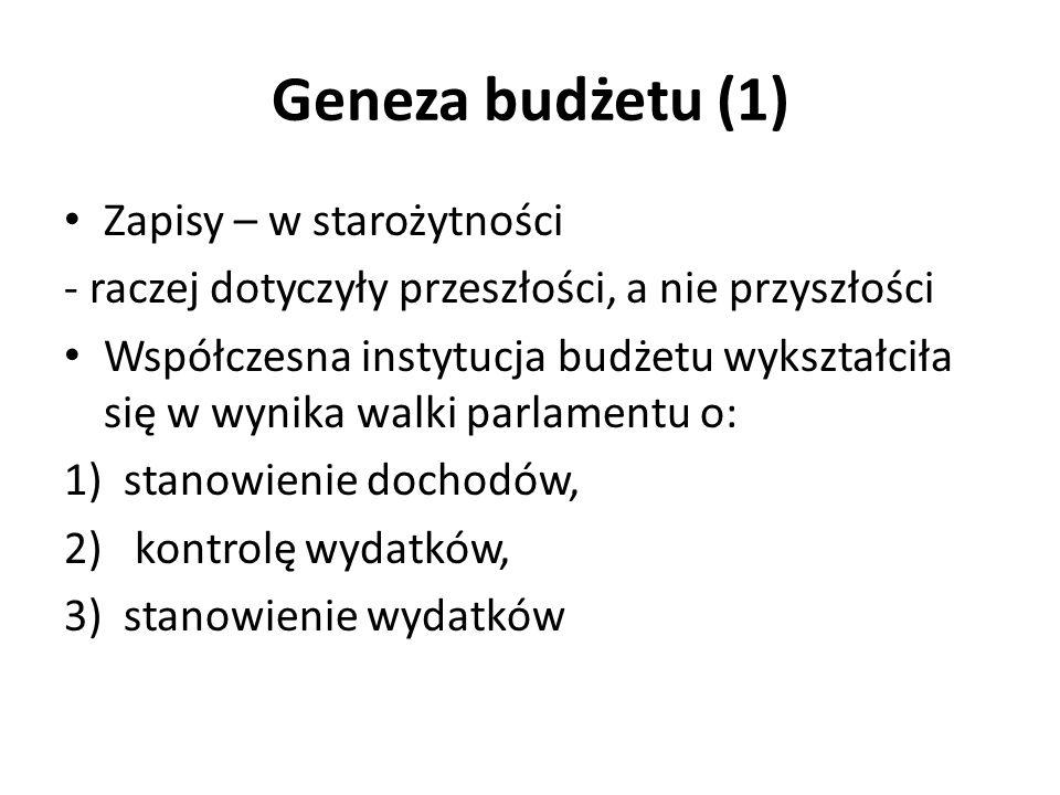 Geneza budżetu (1) Zapisy – w starożytności - raczej dotyczyły przeszłości, a nie przyszłości Współczesna instytucja budżetu wykształciła się w wynika