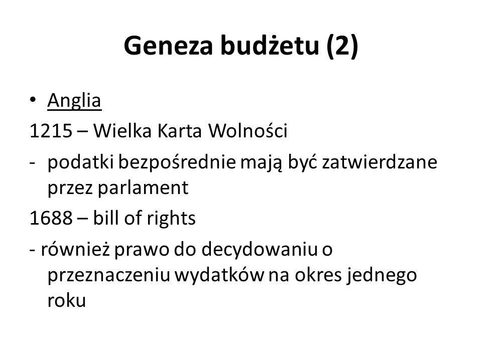 Geneza budżetu (2) Anglia 1215 – Wielka Karta Wolności -podatki bezpośrednie mają być zatwierdzane przez parlament 1688 – bill of rights - również pra