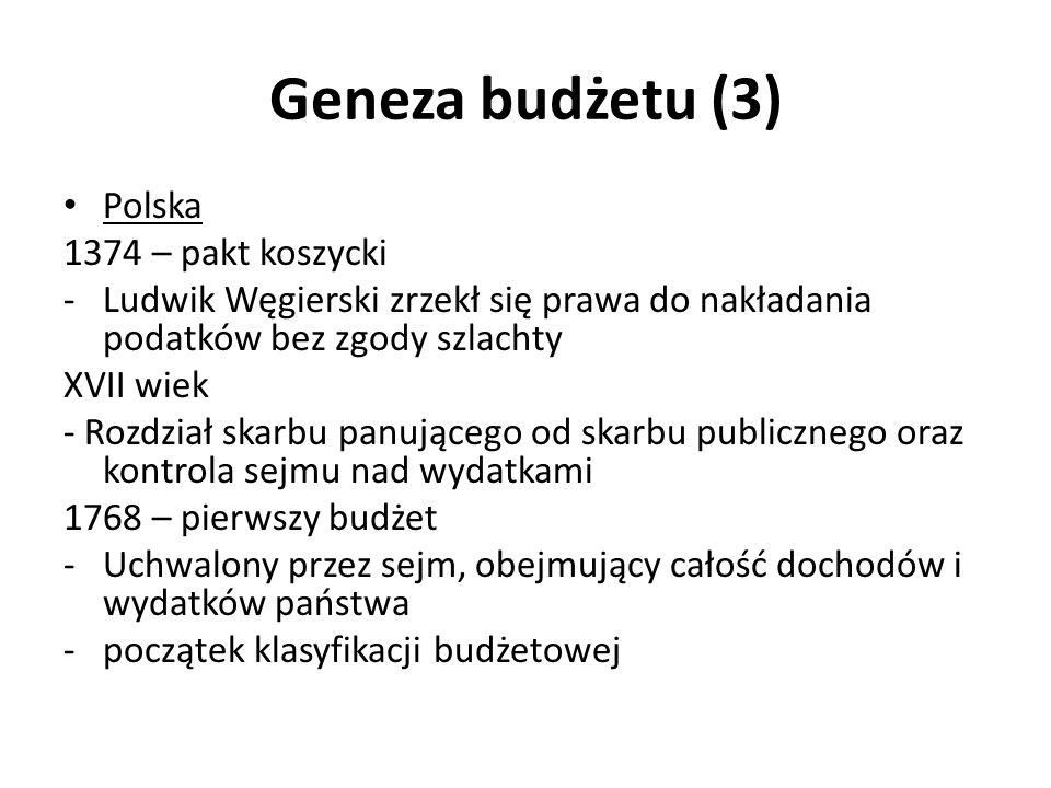 Geneza budżetu (3) Polska 1374 – pakt koszycki -Ludwik Węgierski zrzekł się prawa do nakładania podatków bez zgody szlachty XVII wiek - Rozdział skarb