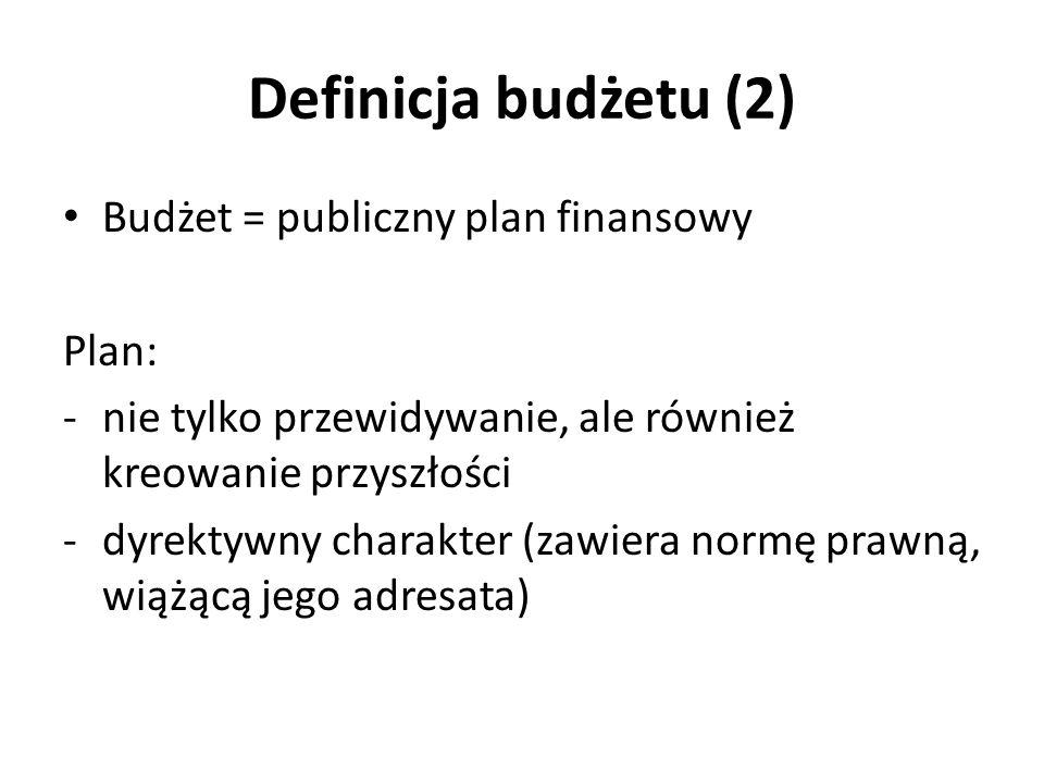 Definicja budżetu (2) Budżet = publiczny plan finansowy Plan: -nie tylko przewidywanie, ale również kreowanie przyszłości -dyrektywny charakter (zawie