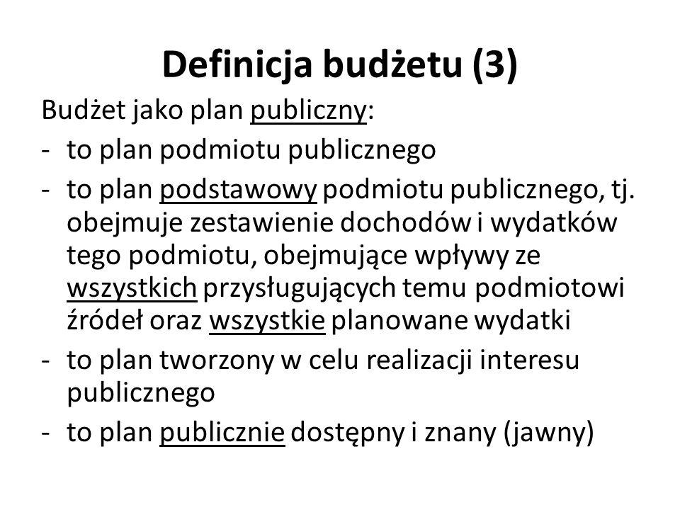 Definicja budżetu (3) Budżet jako plan publiczny: -to plan podmiotu publicznego -to plan podstawowy podmiotu publicznego, tj. obejmuje zestawienie doc