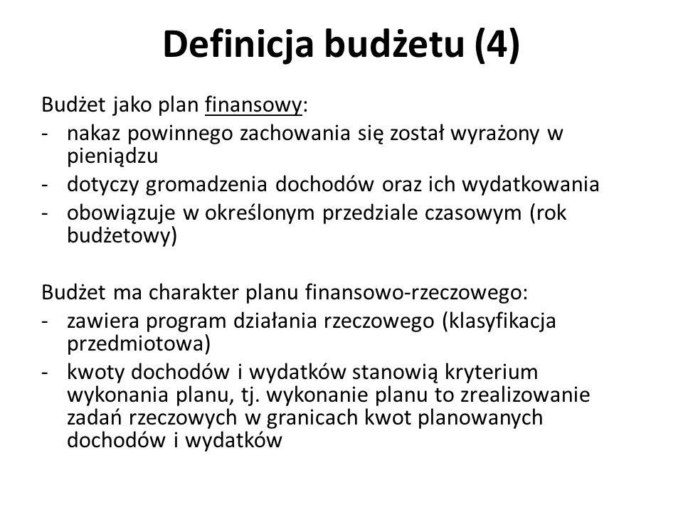 Definicja budżetu (4) Budżet jako plan finansowy: -nakaz powinnego zachowania się został wyrażony w pieniądzu -dotyczy gromadzenia dochodów oraz ich w