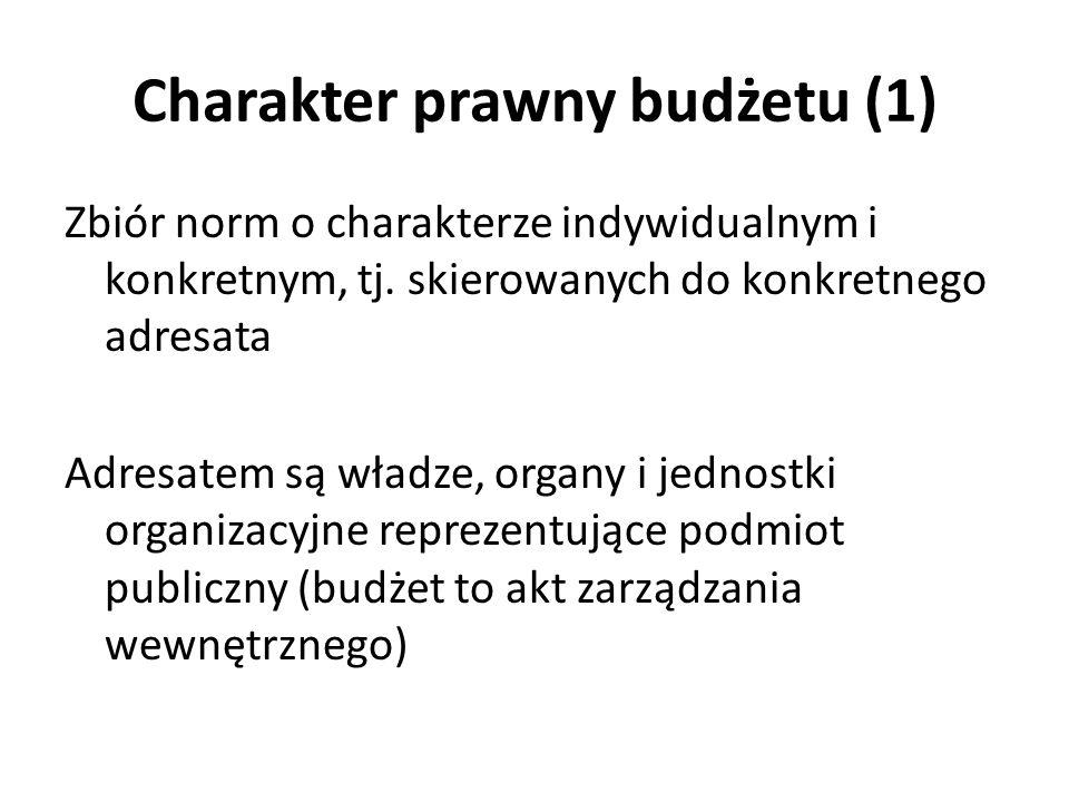 Charakter prawny budżetu (1) Zbiór norm o charakterze indywidualnym i konkretnym, tj. skierowanych do konkretnego adresata Adresatem są władze, organy