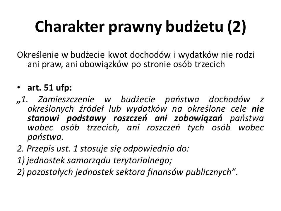 Charakter prawny budżetu (2) Określenie w budżecie kwot dochodów i wydatków nie rodzi ani praw, ani obowiązków po stronie osób trzecich art. 51 ufp: 1