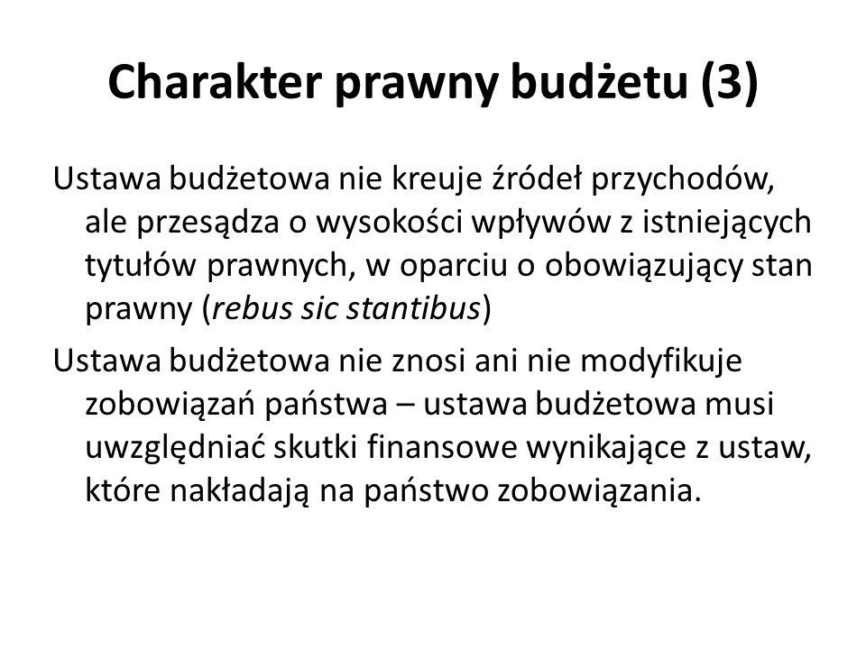 Charakter prawny budżetu (3) Ustawa budżetowa nie kreuje źródeł przychodów, ale przesądza o wysokości wpływów z istniejących tytułów prawnych, w oparc
