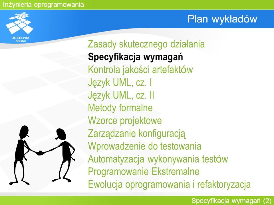 Inżynieria oprogramowania Specyfikacja wymagań (2) Plan wykładów Zasady skutecznego działania Specyfikacja wymagań Kontrola jakości artefakt ó w Język
