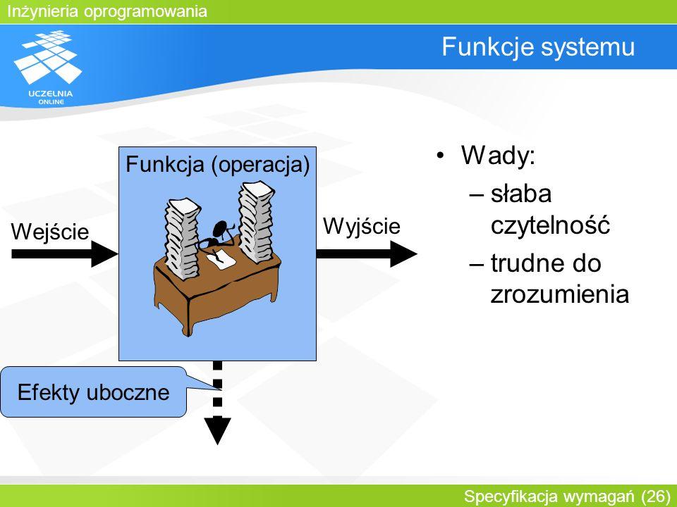 Inżynieria oprogramowania Specyfikacja wymagań (26) Funkcje systemu Funkcja (operacja) Wejście Wyjście Efekty uboczne Wady: –słaba czytelność –trudne